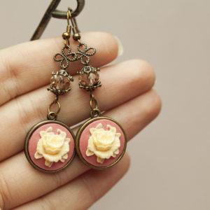 Σκουλαρίκια «Ροζ Cameo Λουλούδι»
