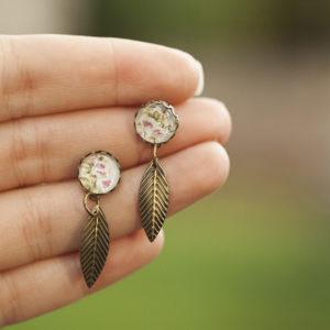 Σκουλαρίκια «Λουλούδια & Φτερό»