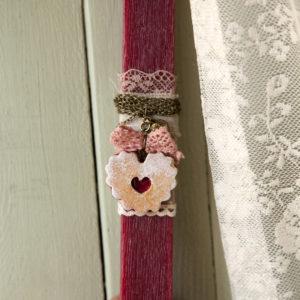 Λαμπάδα Μπισκότο Καρδιά με Φράουλα