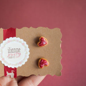 XMAS Heart Cookie Studs